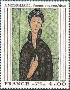 timbre N° 2109, Amedeo Modigliani (1884-1920) « Femme aux yeux bleus »