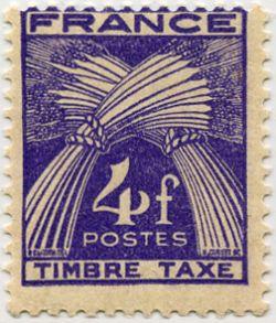 timbre taxe timbre fran ais taxe n 84 de couleur violet mis en 1946 1955. Black Bedroom Furniture Sets. Home Design Ideas